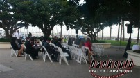 Outdoor wedding ceremony at Cabrillo Marina in San Pedro, CA.